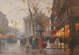 """Paris Street Scene""<br>Edouard Cortes (1882 - 1969)<br>Oil on Canvas Paris Street Scene"