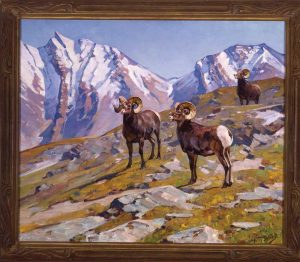 """Landscape with Rams"",<br>Carl Rungius (1869 - 1959 <br> Oil on canvas"
